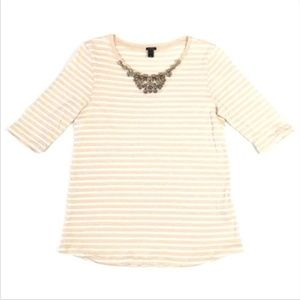 J CREW Striped Top 3/4 Sleeve Shirt Bejeweled